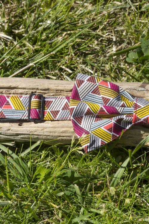 systéme de réglage- Noeud papillon pré-noué imprimé Triangles Multicolores
